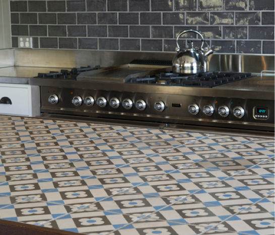 Decorative Tiled Kitchen Island Table In Refurbished House By Homes 4 Living