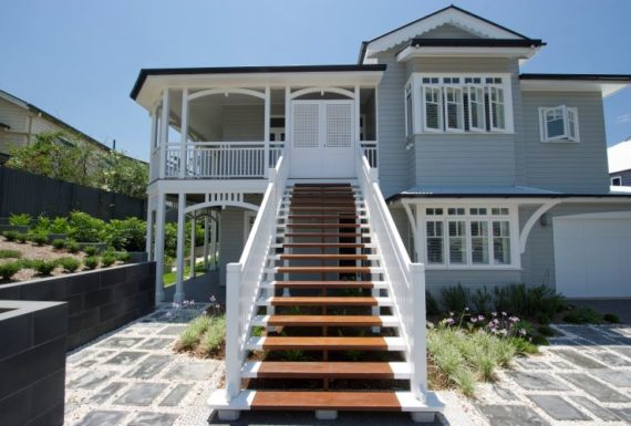 Front Entrance Lead By A Flight Of Stairs To The Front Door Of A Newly Renovated Queenslander By Homes 4 Living